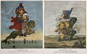 Old caricature maps of England-Wales and Scotland. Created by Dighton, published in London by Bowles