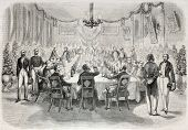 Old illustration of a banquet in Batavia offered by French consul. Created by Engelu, published on L
