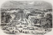 Old view of Chandni Chowk, the major street of Old Delhi. Created by De Bar and De Berard, published