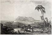 Постер, плакат: Старый вид Гибралтара от Альхесирас Созданный C Бентли и J C Bentley Опубликовано Il Medit