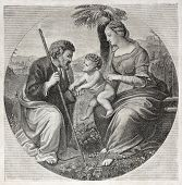 Old engraved reproduction of the Holy Family, after Raphael picture, published on L'Illustration, Journal Universel, Paris, 1857