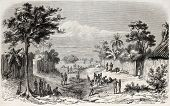 Old view of an African village on the coast. Created by Worms, published on L'Illustration Journal U