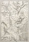 Old map of equatorial Africa. Engraved by Erhard and Bonaparte, published on Le Tour du Monde, Paris, 1860