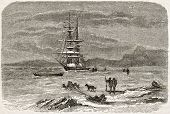 Old illustration of a ship wintering in Bellot strait. Created by Valentin, published on Le Tour du Monde, Paris, 1860
