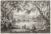 Old view of enchanted lagoon, in Luzon island, Philippines. Created by Lancelot, published on Le Tou