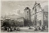 Old view of Messina Duomo square, Italy. Created by Leitch and Sands, published on Il Mediterraneo Illustrato, Spirito Battelli ed., Florence, Italy, 1841
