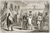 Old illustration of Cree indians. Created by Pelcoq after Kane, published on Le Tour du Monde, Paris, 1860