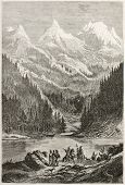 Old view of Lac des Arcs in the Rocky Mountains. Created by Pelcoq after Bourgeau, published on Le T