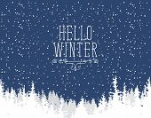 Vector Winter Banner With Words Hello Winter. Winter Night Landscape With Snowfall And White Tops Of poster