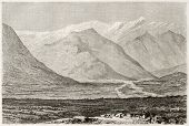 Noukha valley (nowadays Shaki) old illustration, Azerbaijan. Created by Moynet, published on Le Tour du Monde, Paris, 1860