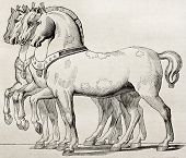 St. Mark Basilica horses old illustration, Venice. By unidentified author, published on Magasin Pitt