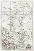 Southern Sahara and central Africa old map. Created by Erhard, published on Le Tour du Monde, Paris,