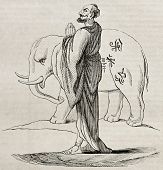 White Siam sacred elephant and bonze, old illustration. Created by Couplet, published on Magasin Pit