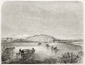 Kabara old view, Timbuktu port, Mali. Created by Rouargue after Barth, published on Le Tour du Monde