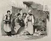 People in a Constantinople street. By unidentified author, published on Magasin Pittoresque, Paris, 1840