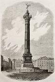July column old illustration, Place de la Bastille, Paris. By Architect Duc, published on Magasin Pittoresque, Paris, 1840