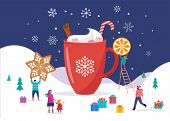 Merry Christmas, Winter Scene With A Big Cocoa Mug And Small People, Young Men And Women, Families H poster