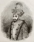 Old engraved portrait of Zahir ad-Din Muhammad, better known as Babur, Muslim conqueror of central A