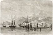 Port of Spain old view, Trinidad, Caribbean sea. Created by De Berard, published on Le Tour du Monde