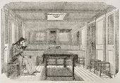 Man reading in the cabin of a merchant brig. By unidentified author, published on Magasin Pittoresqu