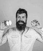 Healthy Alternative. Apples In Both Hands Healthy Alternative. Man Bearded Smiling Holds Apples In H poster