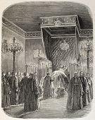 Jerome Bonaparte funeral room, old illustration. Created by Blanchard, published on L'Illustration, Journal Universel, Paris, 1860