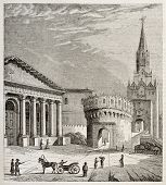 Kremlin trinity gate, Moscow. Created by Cesmarest, published on Magasin Pittoresque, Paris, 1842