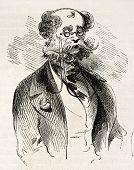 Mann mit Brille alte Abbildung. erstellt von Marcelin, veröffentlicht am l ' Illustration, Buch.-Blatt univers