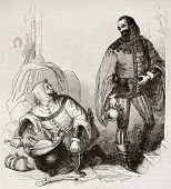 Guest and cook old illustration, characters of Canterbury Tales. By unidentified author, published o