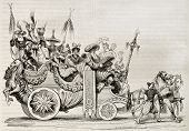 Roman carnival chariot old illustration. Created by Vien, published on Magasin Pittoresque, Paris, 1