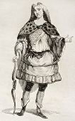 Man in costume old illustration. By unidentified author, published on Magasin Pittoresque, Paris, 18