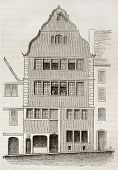 Beethoven birth house old illustration, Bonn, Germany. By unidentified author, published on Magasin