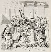 Christening Tupinambas people in Paris, old illustration. By unidentified author, Hennin collection, published on Magasin Pittoresque, Paris, 1842