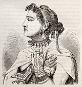 Marquesas islands Queen old engraved portrait. Created by Krusenstern, published on Magasin Pittores