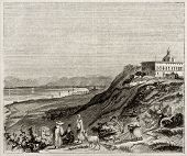 Mount Carmel old view, Israel. By unidentified author, published on Magasin Pittoresque, Paris, 1843