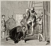 Charles V picking up Titian brush, old illustration. Created by Fleury, published on Magasin Pittore