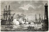 Attack to the Monarca by the Vessel in Castellammare port, Italy, during the expedition of the Thousand. Created by Marc, published on L'Illustration, Journal Universel, Paris, 1860