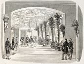 Napoleon III and Empress Eugenie in the palm gallery, Nice, France. By unidentified author,  published on L'Illustration, Journal Universel, Paris, 1860