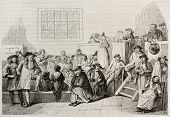 Quakers meeting in 18th century. After old engraving by unidentified author, published on Magasin Pi