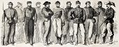 Garibaldian army uniforms old illustration. Created by Worms, published on L'Illustration, Journal U