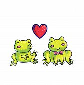 Frogs In Love Color Cartoon Vector Characters. Doodle Frogs Couple Handdrawn Clipart. Cute Fairy Tal poster
