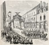 Napoleon III and Empress Eugenie entrance in Dijon. Created by Godefroy-Durand, published on L'Illustration, Journal Universel, Paris, 1860