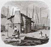 North-American pioneers hut, old illustration. Created by Saint-Aulaire, published on Magasin Pittoresque, Paris, 1844