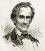 Abraham Lincoln old engraved portrait, Republican Presidential candidate in 1861. Created by Bayard,