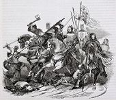 Battle of Bouvines old illustration. By unidentified author, published on Magasin Pittoresque, Paris, 1844