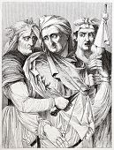The three Parcae, after painting of Michelangelo kept in Palazzo Pitti, Florence. Published on Magas