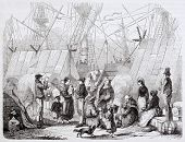 Emigrants in Le Havre seaport. Created by Charton, published on Magasin Pittoresque, Paris, 1844
