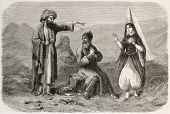 Maronite costumes old illustration. By unidentified author, published on L'Illustration, Journal Uni