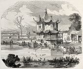 Yuan-Ming-Yuan garden pavilion, then destroyed in retaliation by French-British troops. Created by Worms, published on L'Illustration, Journal Universel, Paris, 1860