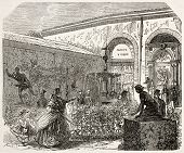 Industry and fine art expo in Toulouse: ceramics, cast iron, horticulture. Created by Ferat, published on L'Illustration, Journal Universel, Paris, 1858